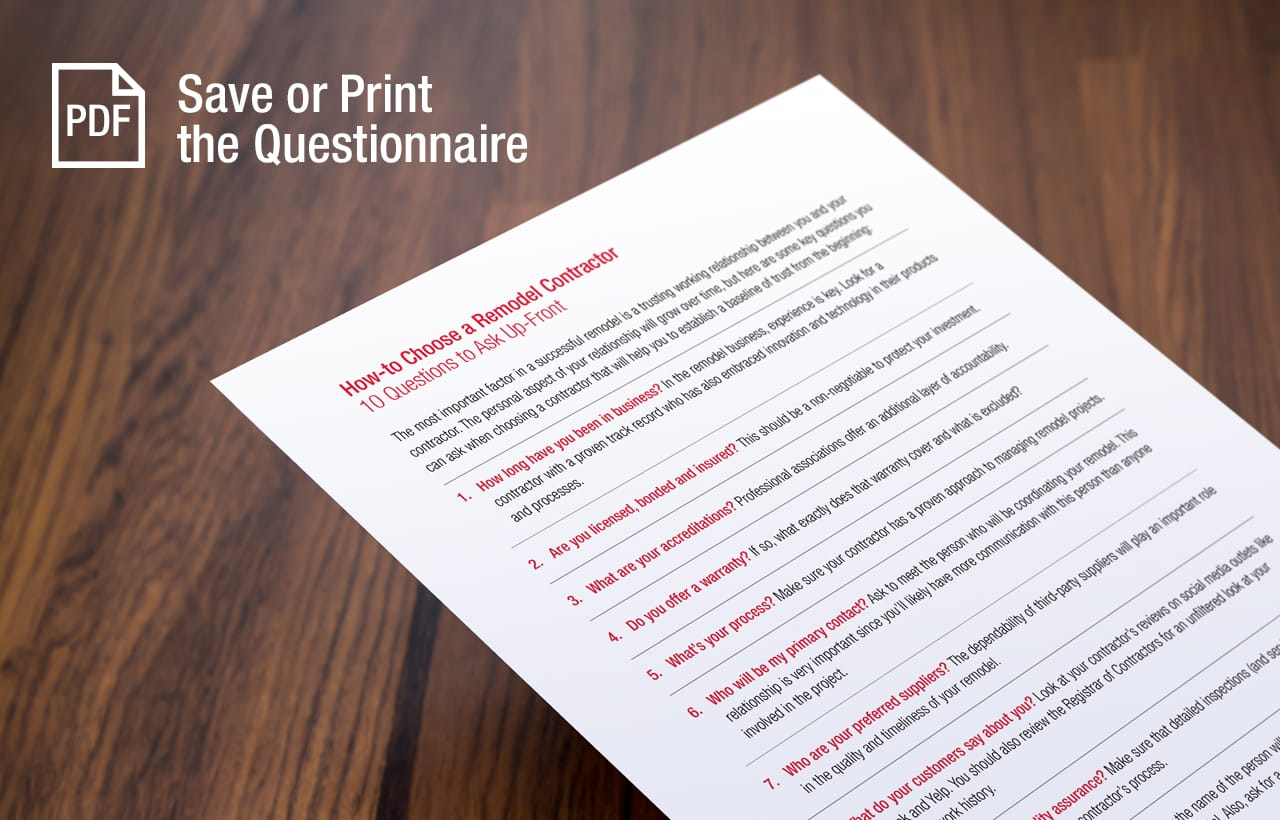 Save or Print the Questionnaire in PDF Format